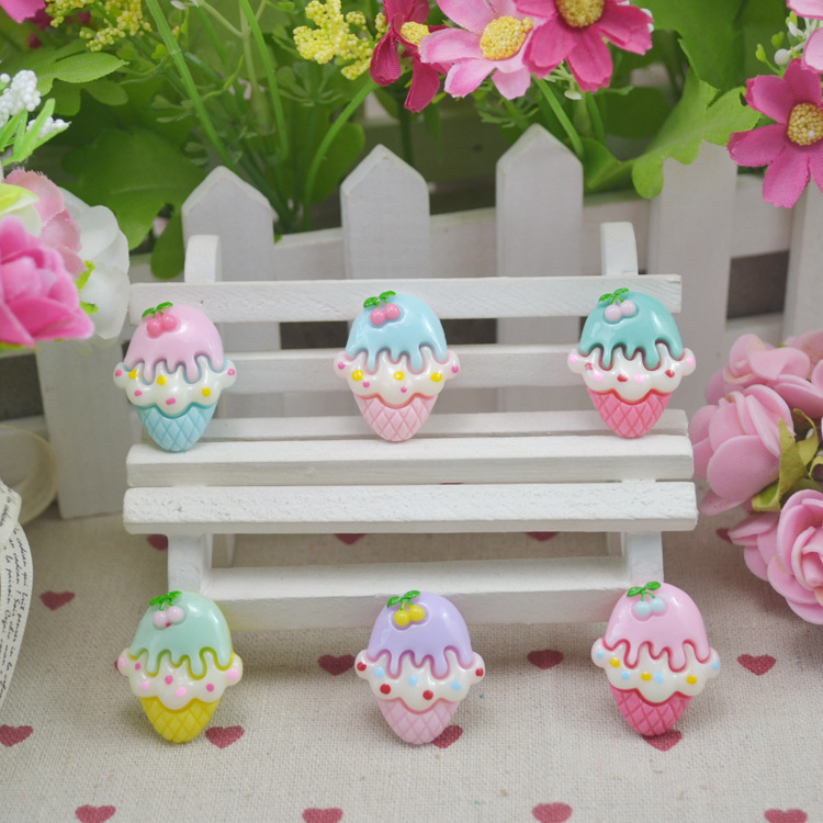 50pcs/lot new Resin lovely Icecream with cherry Cabochons Flat Back Hair Bow Center Deco Frame Crafts 28*24mm