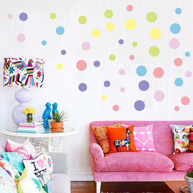Colorful Polka Dot Wall Sticker Kids Room Nursery Background Wallpaper  Poster Color Round Dot Wall Applique Part 96