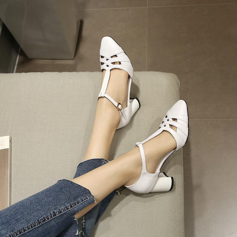 YMECHIC 2018 Ladys rzym styl T pasek biały czarne buty na wysokim obcasie pompy Gladiator lato kobiet kwadratowy obcas buty z prawdziwej skóry kobieta w Buty damskie na słupku od Buty na  Grupa 1