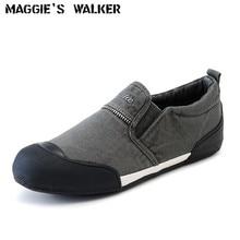 Maggie's Walker Men Spring Denim Canvas Shoes Slip-on Casual Shoes Platform Casual Shoes for Men Size 39~43