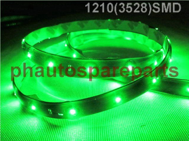 Free Shipping 60CM 30leds  green 1210 3528 SMD waterproof flexible led strip 60cm 30 SMD LED strip green color 12V