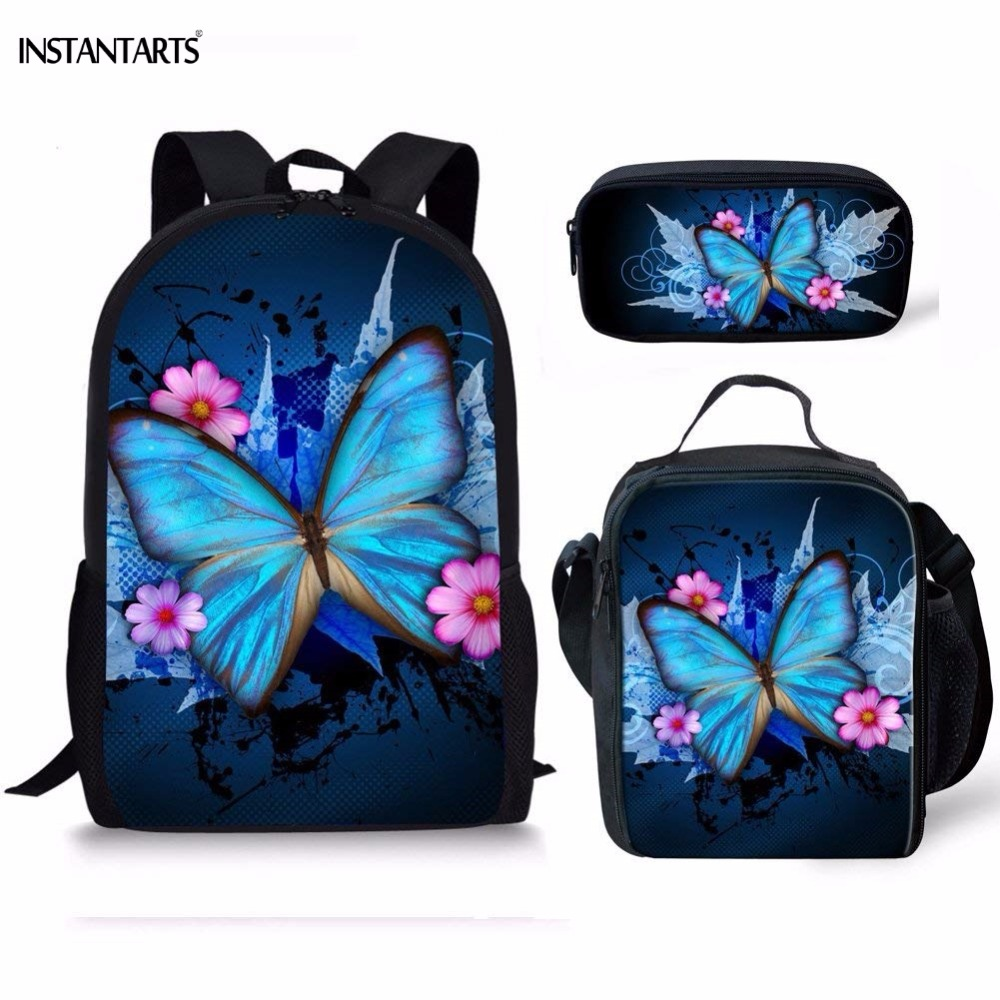 INSTANTARTS Pretty Butterfly Pattern Girls Schoolbags Casual 3PCS Set Middle School Students Backpacks Orthopedic School Bags