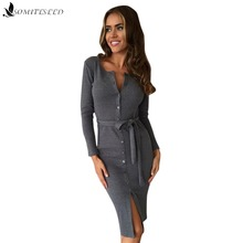 2017 Solid Color Single-breasted Bandage Dress Long-sleeved Hip Long Sexy Dress Imitation Cotton Lacquer Fabric Gray Black Dress