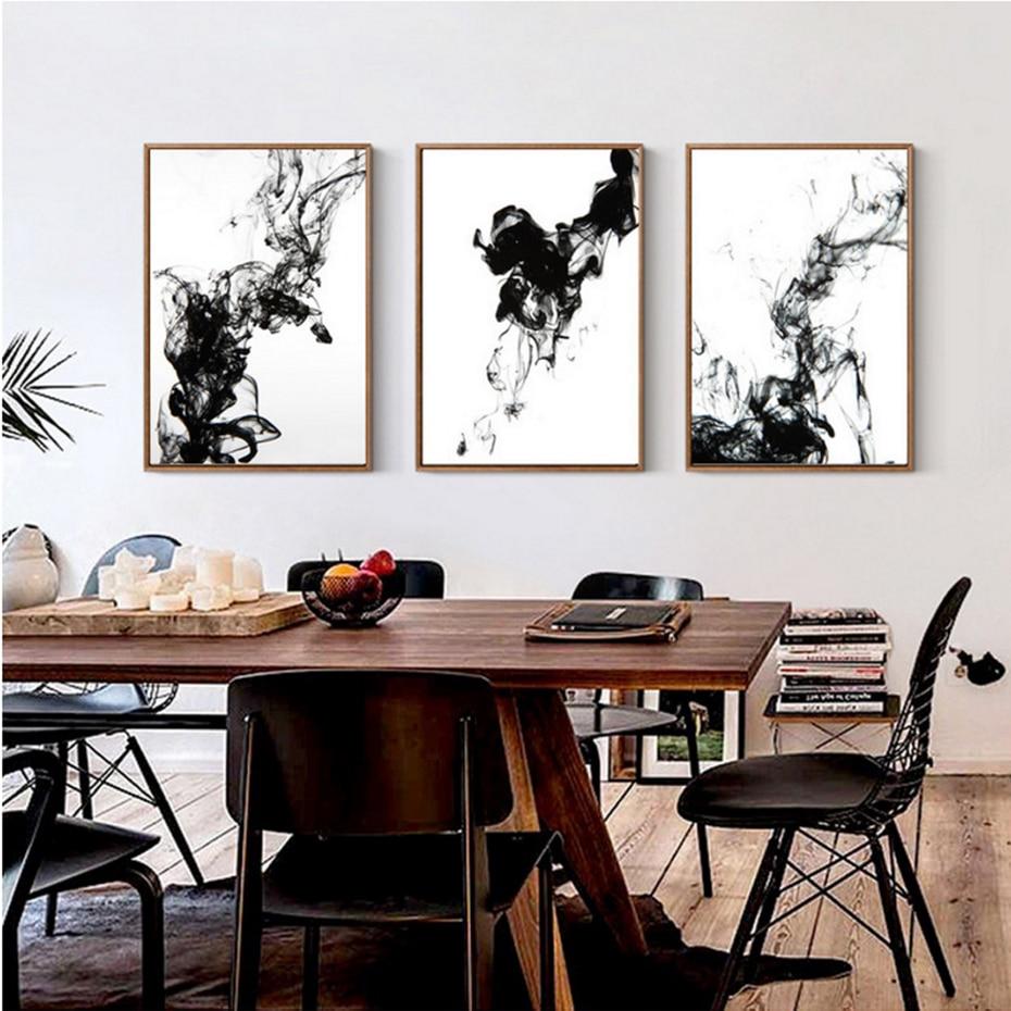 Dynamische Abstrakte Tinte Leinwand Gemälde Chinesische Schwarz Weiß ...