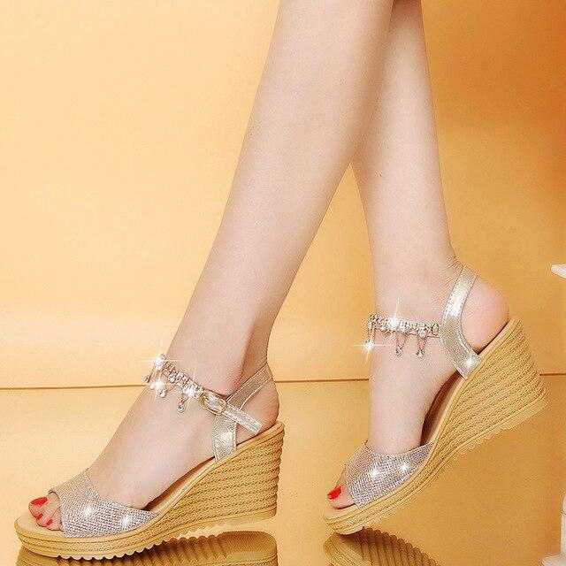 2018 kadın ayakkabısı Rahat Yaz Moda kadın ayakkabısı Kadınlar Nefes Takozlar Sandalet Sıcak Satış