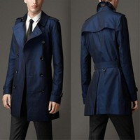 Spring Autumn Men's Business Coat Casual Cotton Trench Men's Fashion Slim Double Breasted Coat British Korean Version Trench