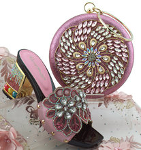 90b9529b59b7 Pink Hot Artist Italian Shoes With Matching Bags Decorated With Rhinestone  African Wedding Shoes And Purse Set