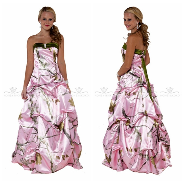 10df497290e Pink Camo Camouflage A-Line Wedding Dress New Fashion 2019Draped Lace Up  Back Bridal Gowns Custom Real Tree Vestidos De Mariee