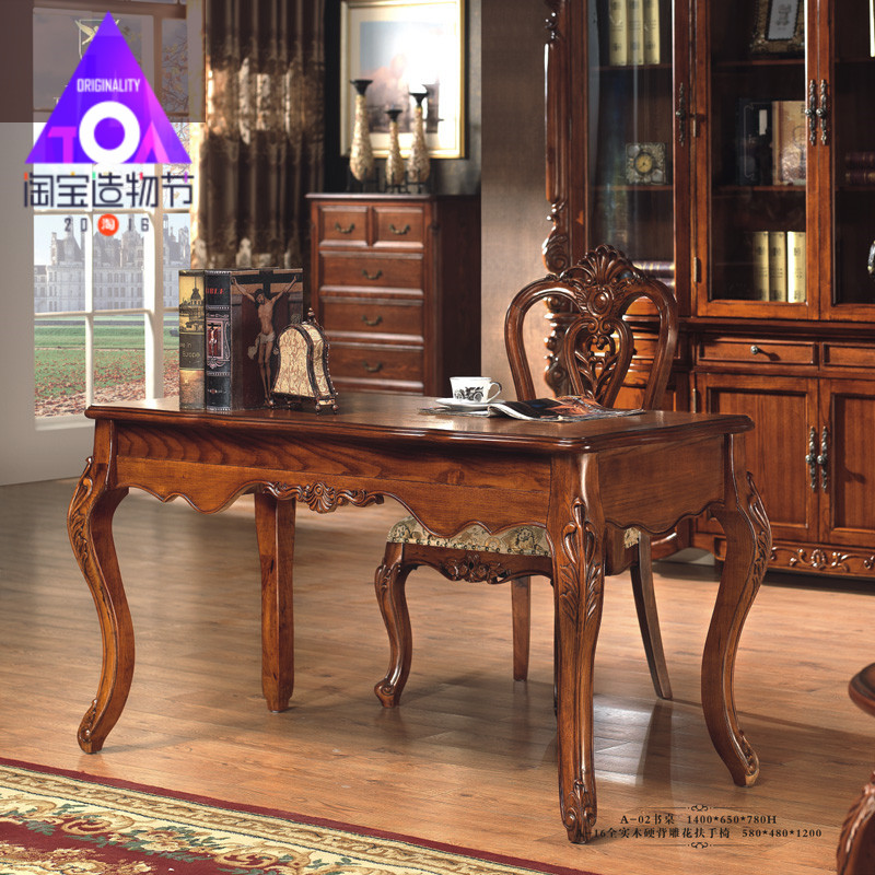 table The new computer desk antique American furniture wood and writing  study Continental-in Computer Desks from Furniture on Aliexpress.com |  Alibaba Group - Table The New Computer Desk Antique American Furniture Wood And