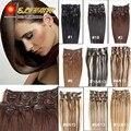 Human Hair Clips Clip In Hair Extensions 24inch 60cm120g clips Long Straight Human Hair  Free Shipping Virgin Hair Clip Ins