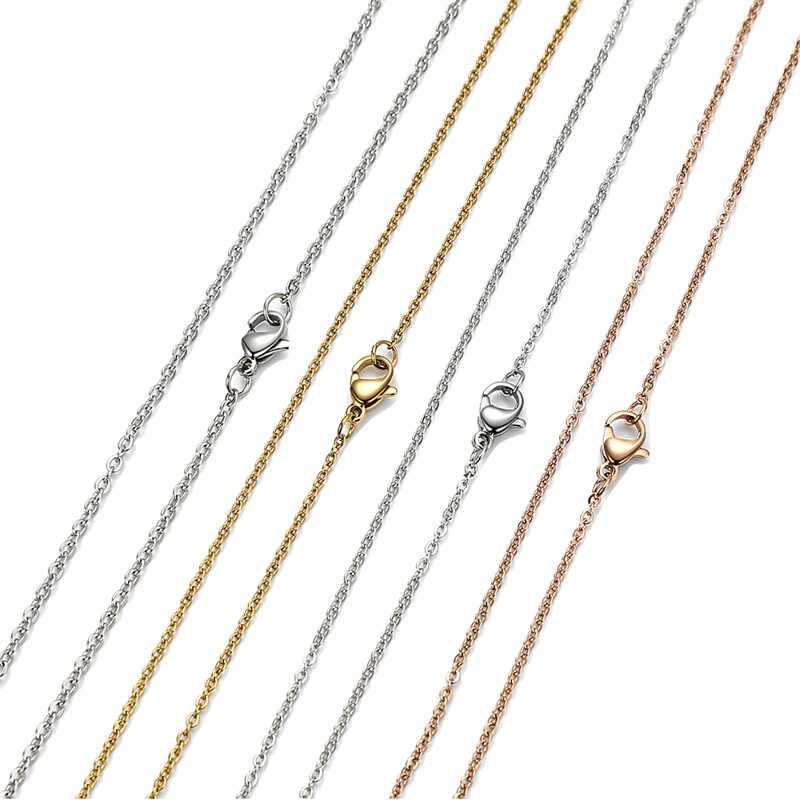 AZIZ BEKKAOUI podstawowy naszyjnik łańcuch dla kobiet okrągły Miami kubański Link Chain złoty i srebrny ze stali nierdzewnej stal biżuteria męska 1.5-3mm