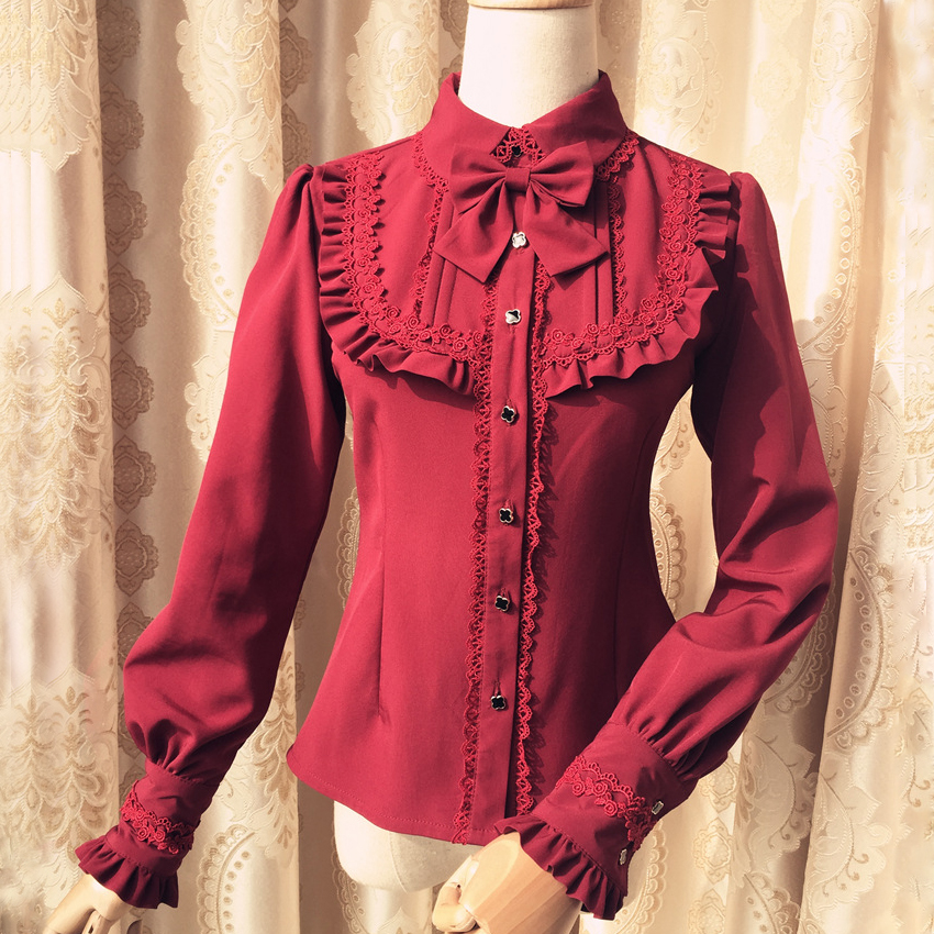 Winter/Autumn Retor Red/White/Black Warm Long Sleeves Cotton Velvet Lace Lolita Blouse Shirts Ladies Kawaii Sweet Blouse Shirts
