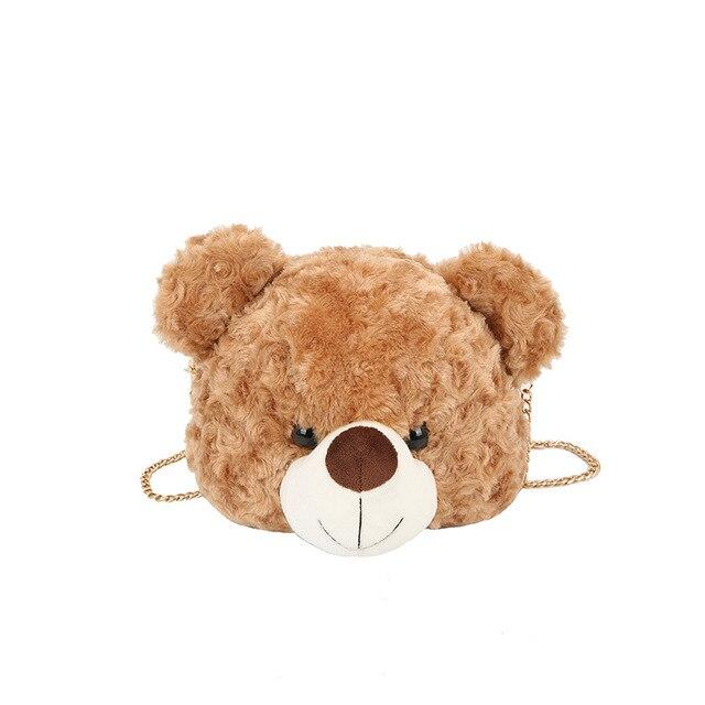 Winter Faux Fur Women's Messenger Bag Famous Designed Cute Bear Bags Crossbody Shoulder Bag for Girl Child Bags