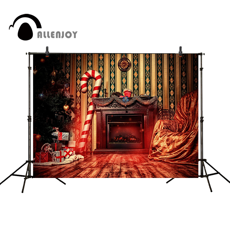 Allenjoy Christmas backdrop fireplace Christmas tree gifts sofa wooden floor gorgeous wall Photo background background for photo christmas tree backdrop photography allenjoy wooden carpet fireplace xmas tree background photographic studio vinyl camera