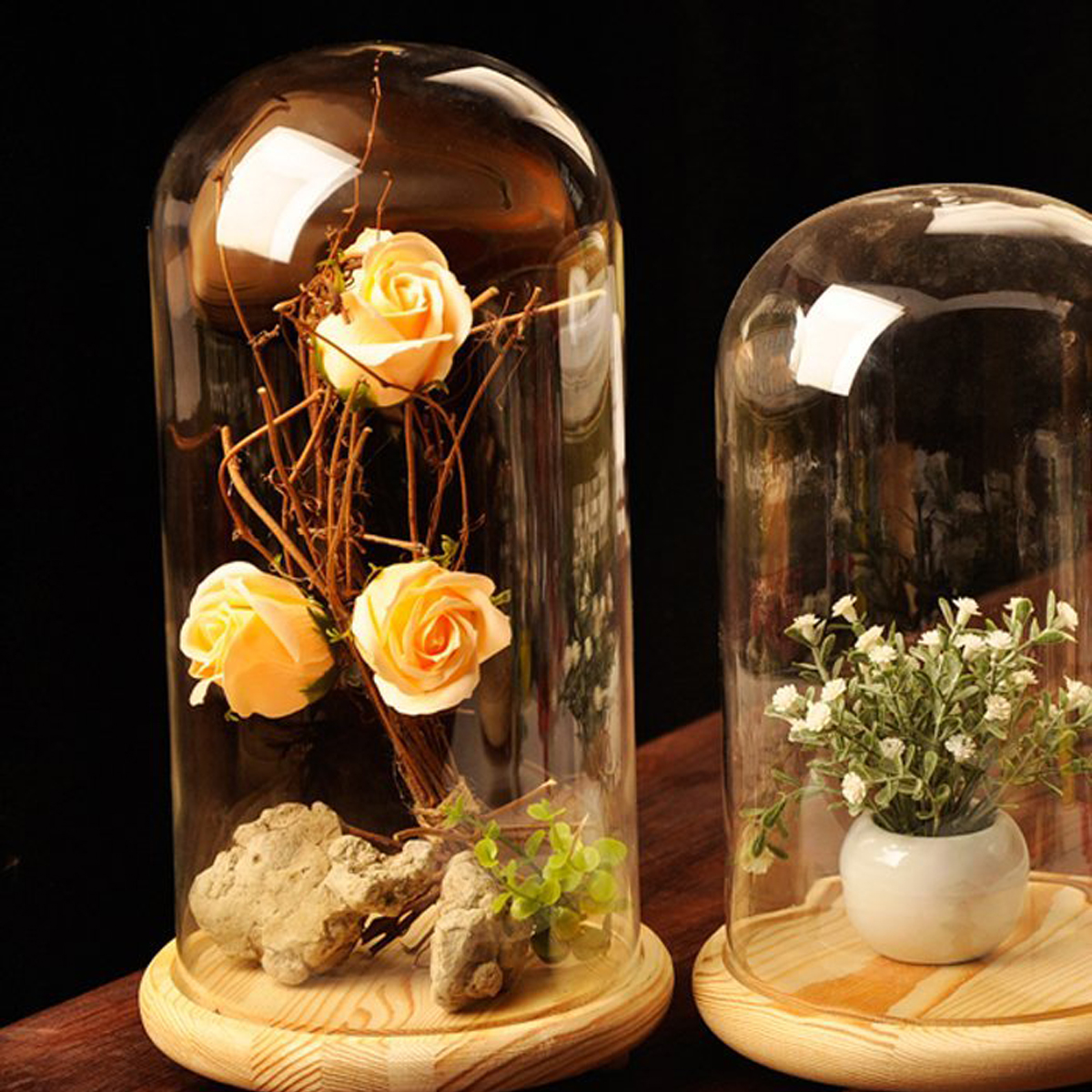 Clear Glass Dome Cover Glass Display Dome Cloche Bell Jar DIY Display Stand Decor Lamp Shade Vase Home Decor Ornament リビング シャンデリア