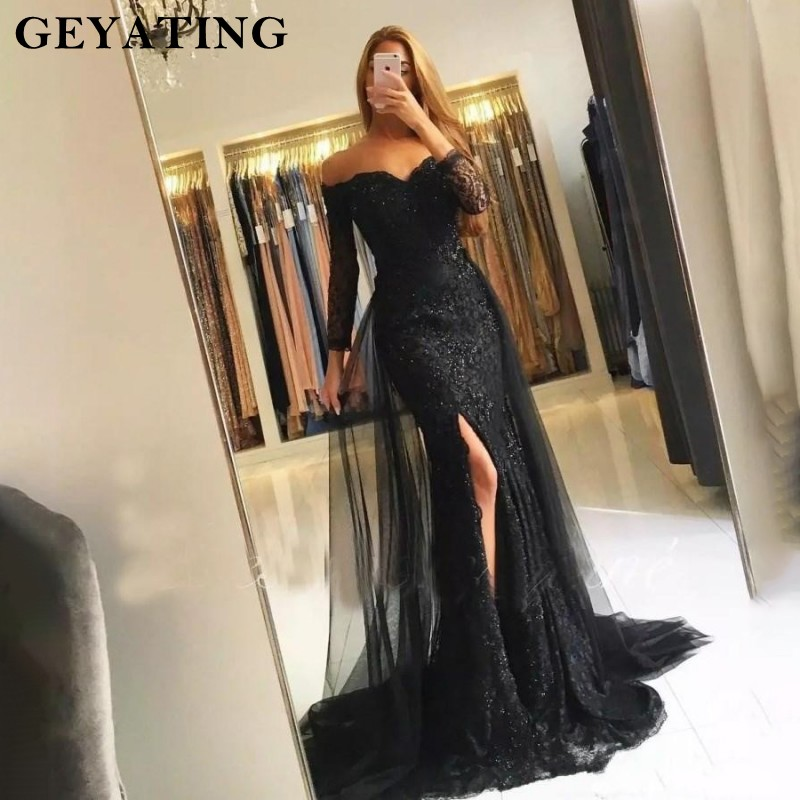 Image 1 - Black Lace Mermaid Evening Dress 2019 Sweetheart Off Shoulder Side Split Prom Dresses 3/4 Sleeves Muslim Long Evening Gowns-in Evening Dresses from Weddings & Events
