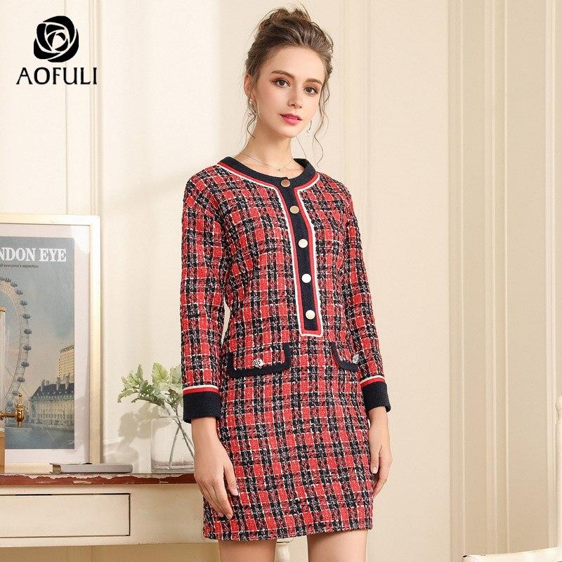347170e76d5d4 AOFULI High street runway style plaid woolen dress women long sleeve  knitted dress big size straight dress L- XXXL 4XL 5XL A3721
