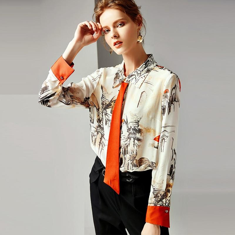 Mixed Femmes Pour Femelle shirt Et R10402 Vêtements En T Rétro Soie Américain 2019 Imprimé Européen 100Chemisier Printemps Hauts Femme ulF1TKJc3