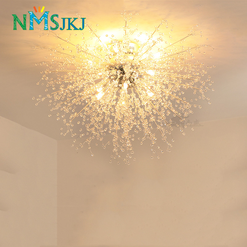 Modern Dandelion LED Flush Mount Ceiling Light Clear Crystal Lamp for Kitchen Bedroom Living Room Foyer Elegant Lighting Fixture lustre flush mount led modern crystal ceiling lamp lights with 1 light for living room lighting free shipping