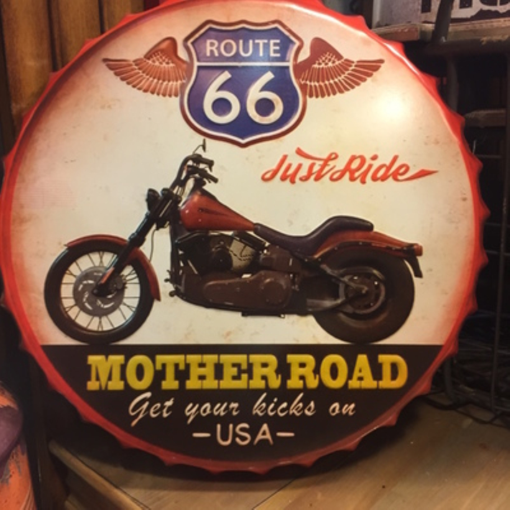 MOTHER ROAD Large Beer Cover Tin Sign Logo Plaque Vintage Metal Painting Wall Sticker Iron Sign Board Decorative Plates 50X50 CM