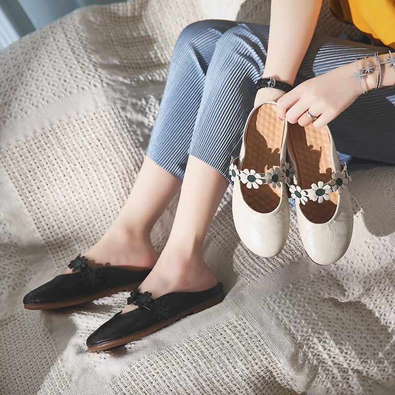 Women's Summer Shoes Baotou 2018 Summer Flower Sexy Sweet Comfortable, Casual Flat Bottomed Women's Leather Shoes6.15 2