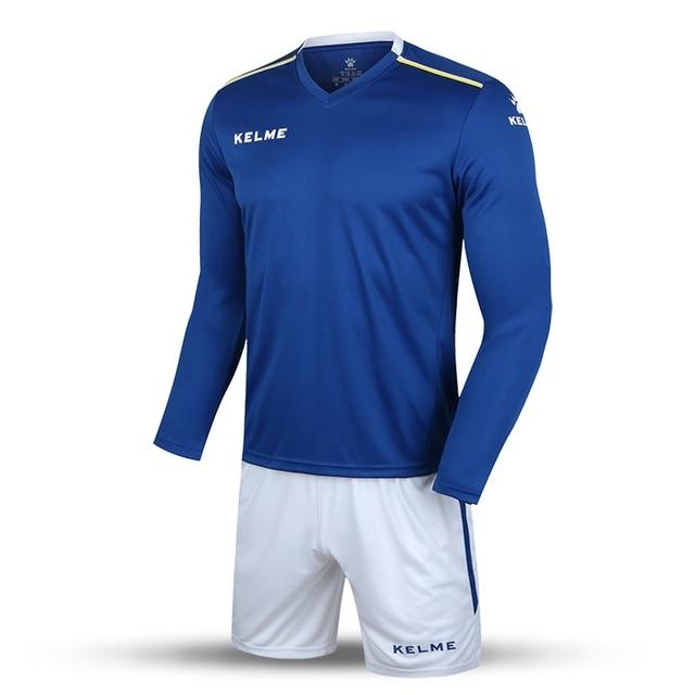 Kelme K16Z2004L Men Autumn Long Sleeve Thin Training Light Board Team  Football Jersey Suit Blue White 2016 Wholesale 3714e319c1ca9