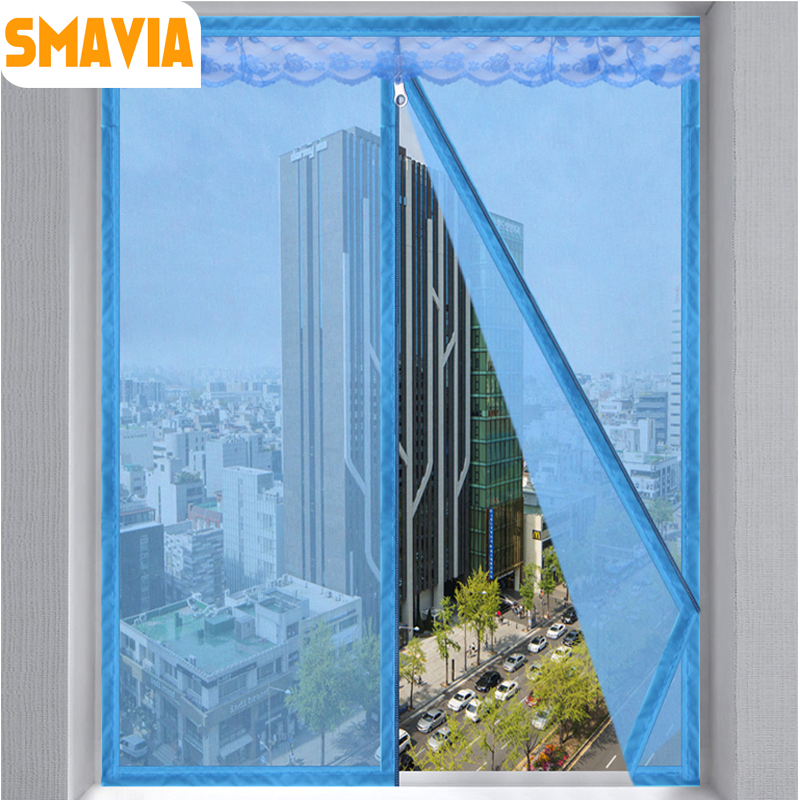 SMAVIA Encryption Anti-mosquito Summer Window Screen Polyester Fiber Lace Mosquito Net with the Zipper Design Installation 1pc