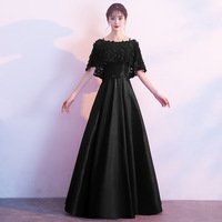 Zipper Evening Dress Floor Length Black Fake Shawl Fashion Party Dresses Boat Neck Short Sleeve Formal Women Long Prom Gown E051