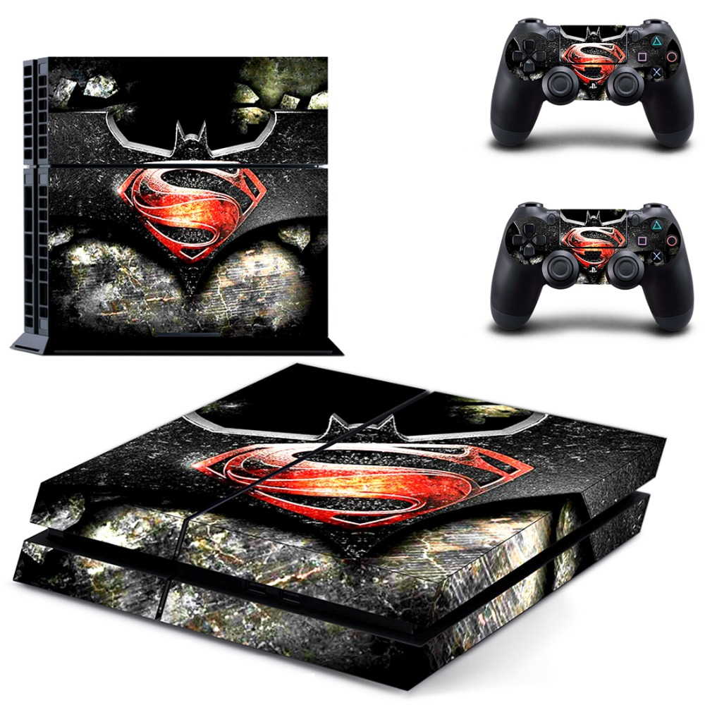PS4 Designer Skin Game Console System 2 Controller Decal Vinyl Protective Covers Stickers For PlayStation 4-- Batman v Superman
