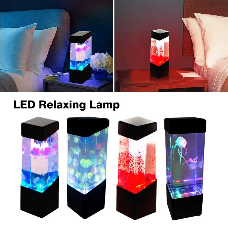 Colorful LED Volcano Lamp Little Fish Jellyfish Lamp Furniture Decoration Innovative Atmosphere Night Light Aquarium LED