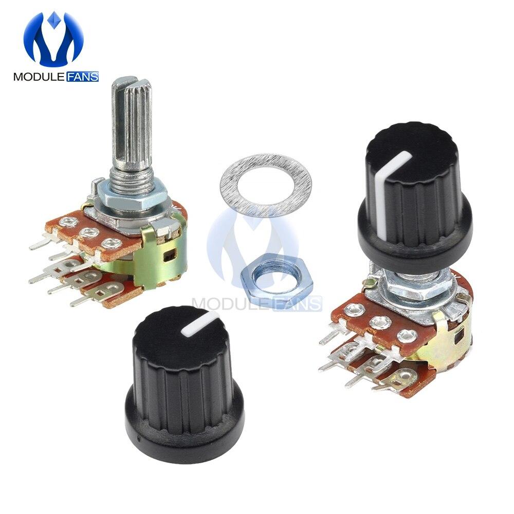 10 шт., резистор потенциометра 100K 250K 500K 1M 1K 2K 5K 10K 20K 50K Ом, линейный конический поворотный потенциометр для ручки колпачка Arduino