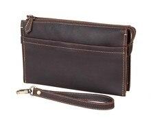 8043R JMDคลาสสิกสีน้ำตาลเข้มวินเทจหนังมินิกระเป๋าสตางค์กุญแจกรณีของผู้ชายกระเป๋าถือ