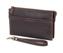 8043R J.M.D Classic Dark Brown Vintage Leather Mini Wallet Purse Key Case Men's Handbag