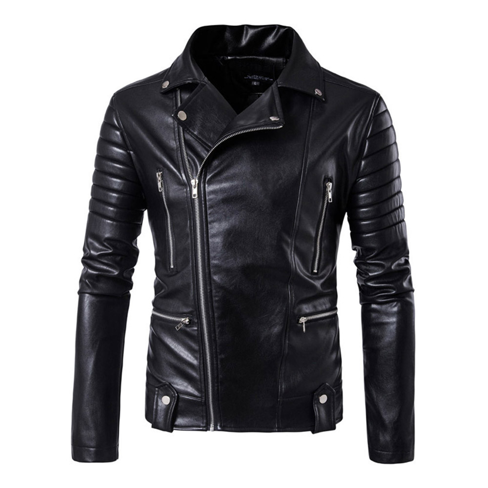 Herobiker Motorcycle Jacket Mens PU Leather Jacket Motorcycle Multi Zipper Moto Jacket Retro Casual Faux Leather Coat Size M-5XL slim fit zipper front mens jacket