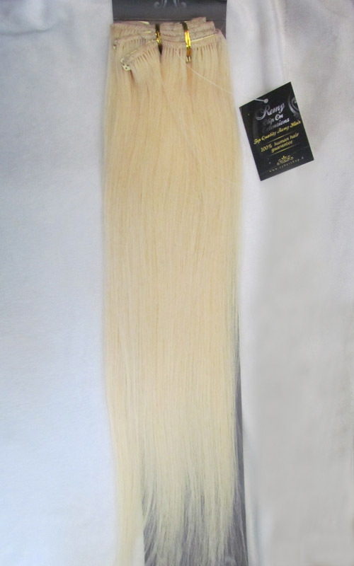 Wholesale 22″ 28″ 32″ Women's Remy Human Hair Straight Clips In Extensions 10Pcs/set 140g Platinum Blonde #60
