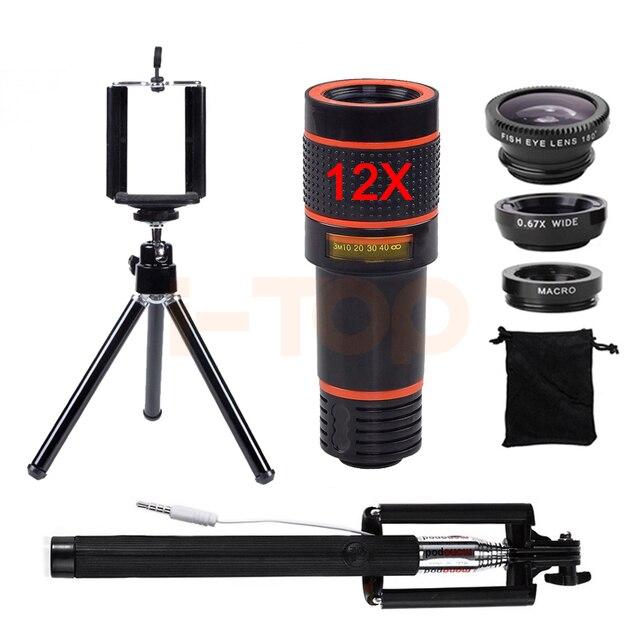 12x teleobjetivo zoom telescopio microscopio lentes de ojo de pez lente gran angular macro ojo de pez móvil trípode monopod selfie stick
