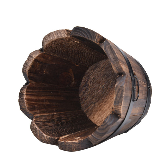 Hot 1PC Small Wooden Ornamental Rustic Small Barrel Primaries Flower Pot Flower Basket Flower Bowyer For Wedding Home Decoration