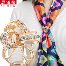 hot deal buy gold silver plated inlaid crystal diamond jewelry multilayer cross scarf buckle wedding brooch christmas pins flower lapel pins
