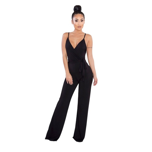 5bbf0d5ac51 Amazon Hot Jumpsuits Sexy V Neck Solid Women Jumpsuits Strap Flare Women  Rompers
