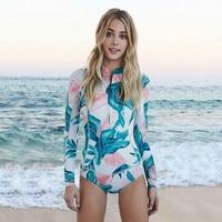 Long Sleeve Swimwear Swimsuit Bikini Women One Piece Print Floral Bathing Suit Female Diving Surfing Swim