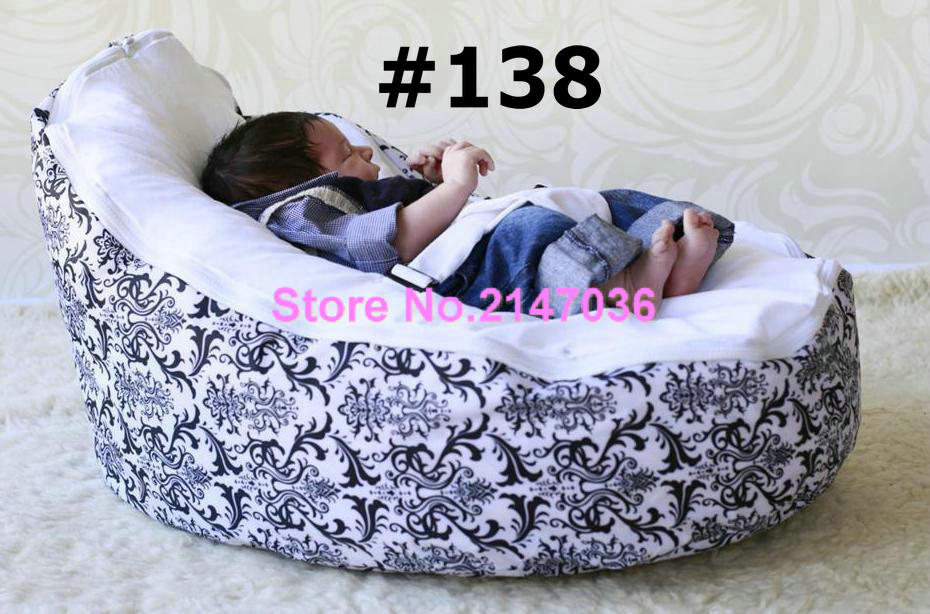 Classic damask baby seat , cutes fresh litter vchick print fur soft baby beanbag - blue mini dots baby sofa chair - free ship