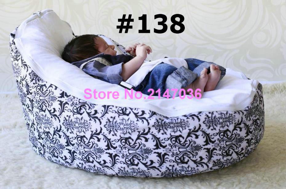 Classic damask baby seat , cutes fresh litter vchick print fur soft baby beanbag - blue  ...