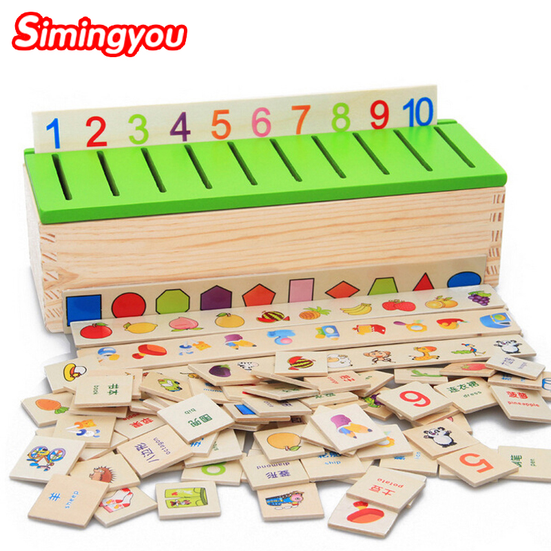 Simingyou 2016 Montessori Knowledge Classification Box Wooden Toys Educational Early Learning Number and Animal Blocks