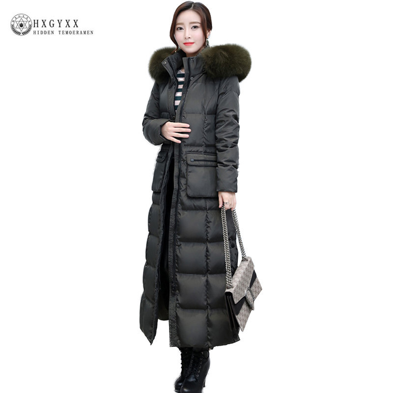 2018 Winter New Luxury Real Fox Fur Collar Woman   Coat   Thick Pius Size Duck   Down   Jacket Warm Solid Color Long Outerwear Oka420