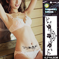 2016 New Temporary Tattoos Large Black Rose Flowers Arm Fake Transfer Tattoo Stickers Charming Women Private Waterproof  Designs