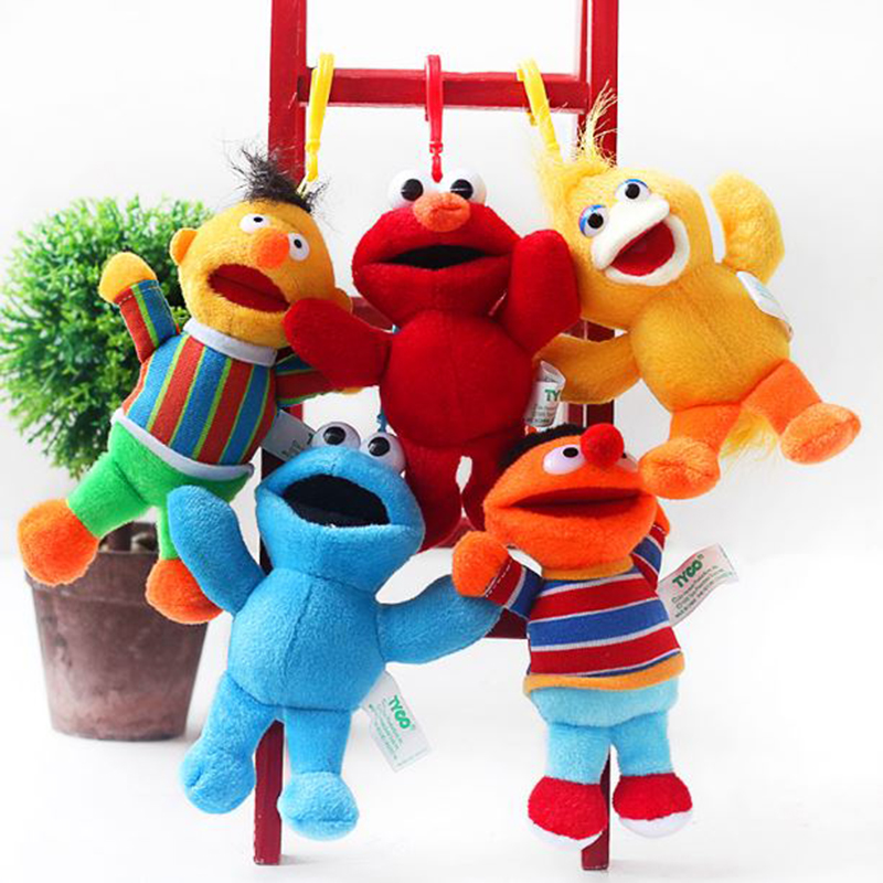 1 Pc Kawaii Cartoon Sesame Street ELMO BIG BIRD MONSTER ERNIE BERT 13cm Keychain Plush T ...