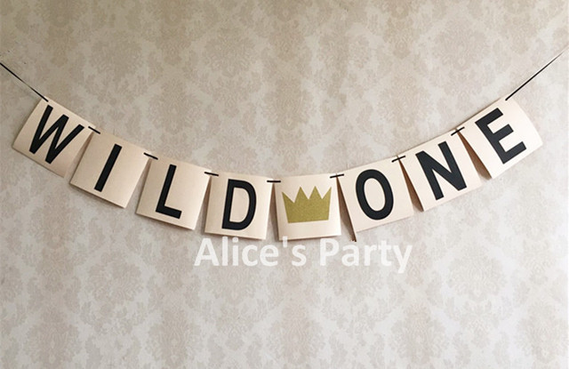 Handmade WILD ONE Theme Party Decoration Gold Imperial Crown Banner High Chair Bunting Boy 1st Birthday
