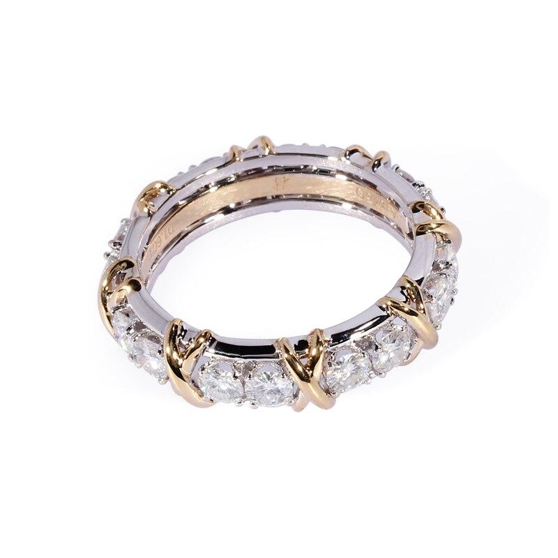 TransGems 1.6 CTW Carat Lab Grown Moissanite Diamant Éternité Bande Solide 14 k Jaune et Or Blanc de Fiançailles Bague Anniversaire