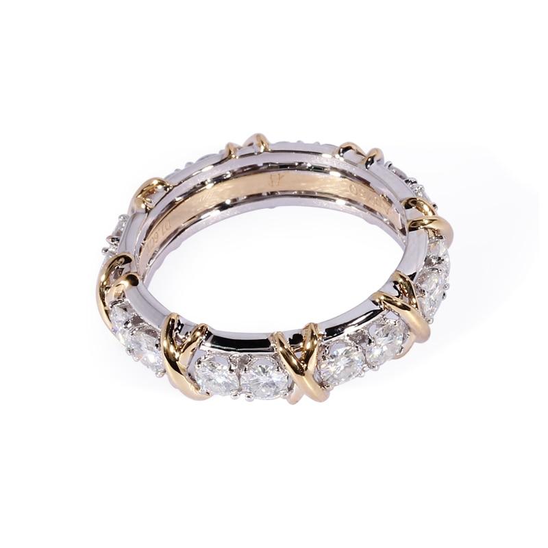 TransGems 1.6 CTW Carati Lab Grown Moissanite Diamante Eternity Fascia Solid 14 k Giallo e Oro Bianco di Fidanzamento Anello di Anniversario