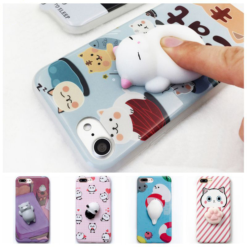 new products 0c73f 2010a 3D Cartoon Squishy Cat Phone Cases For Iphone5 6 6S Plus 7 Plus Cartoon  Polar Bears Stripe Soft TPU Back Cover On 5 5S SE